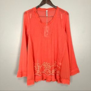 Monoreno Embroidered Tunic Top Chiffon Trim Gauze